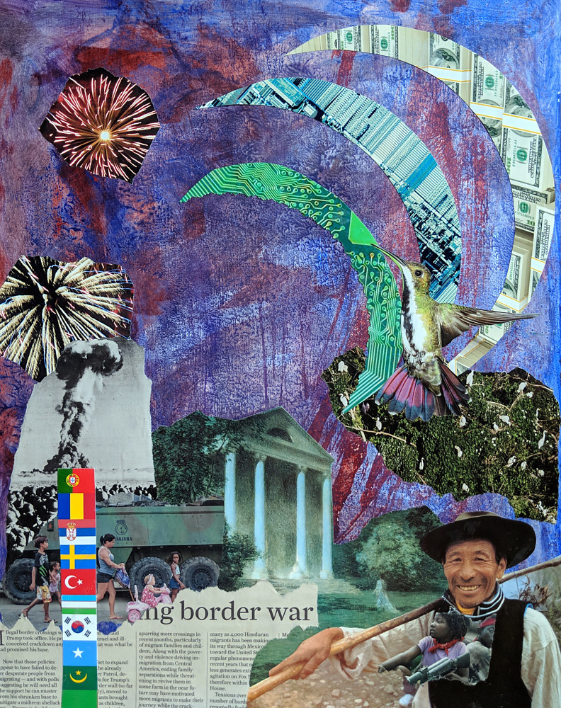 Mixed-media artwork Welcome to the Border Crossing by Pamela Pitt