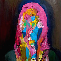 Oil painting Aura Self Portrait by Julie Gladstone