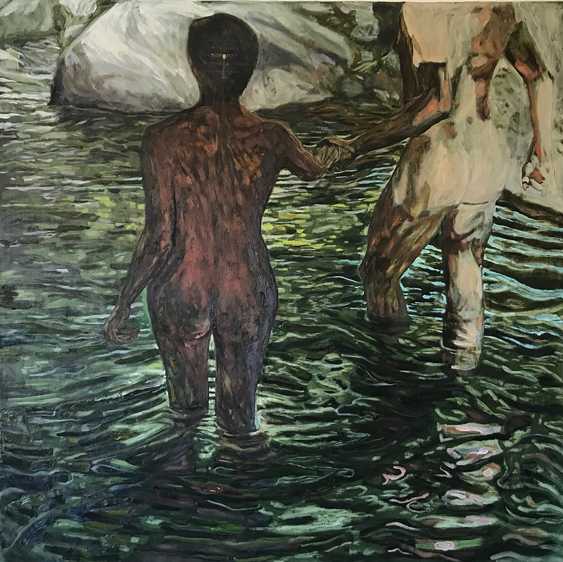 Green Swimmers, 54 x 54, Oil on linen by Edward Miller