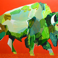 "Acrylic painting ""Buffalo on Red"" by Jennifer Sparacino"