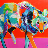 "Acrylic painting ""Coyote's Gaze"" by Jennifer Sparacino"