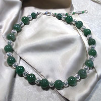 'Serendipity' Aventurine gemstone with silver beads by Sue Ellen Brown