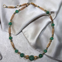 'Forutune's Find' Aventurine gemstone with gold beads by Sue Ellen Brown