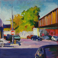 Oil painting addison, lincoln and the L by Madeline Shea