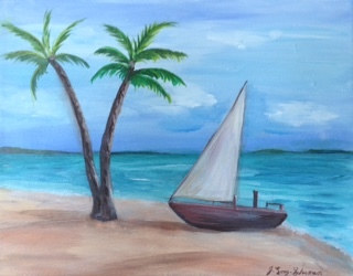 Acrylic painting Sailboat on Beach by June Long-schuman