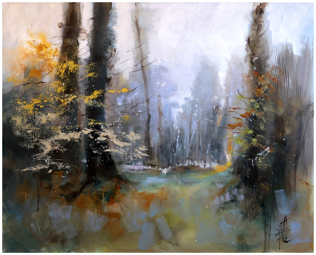 WOODLAND MORNING.oil on canvas, 76x62cm by Anne Farrall Doyle
