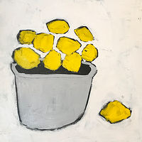 Acrylic painting Lemons with Grey Bowl by Sarah Trundle