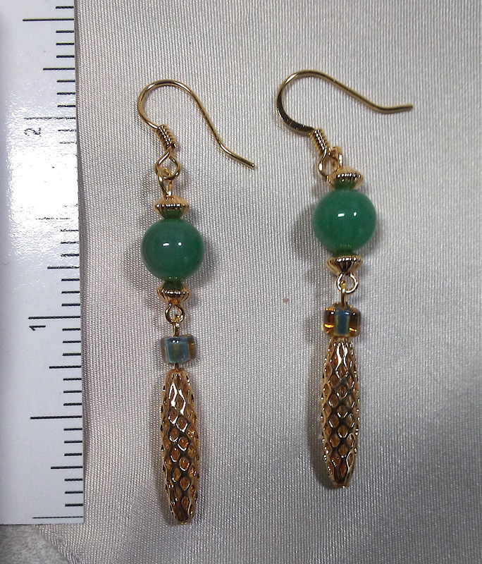 Simple Pleasures aventurine earrings by Sue Ellen Brown