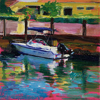 Oil painting the key west dockside by Madeline Shea