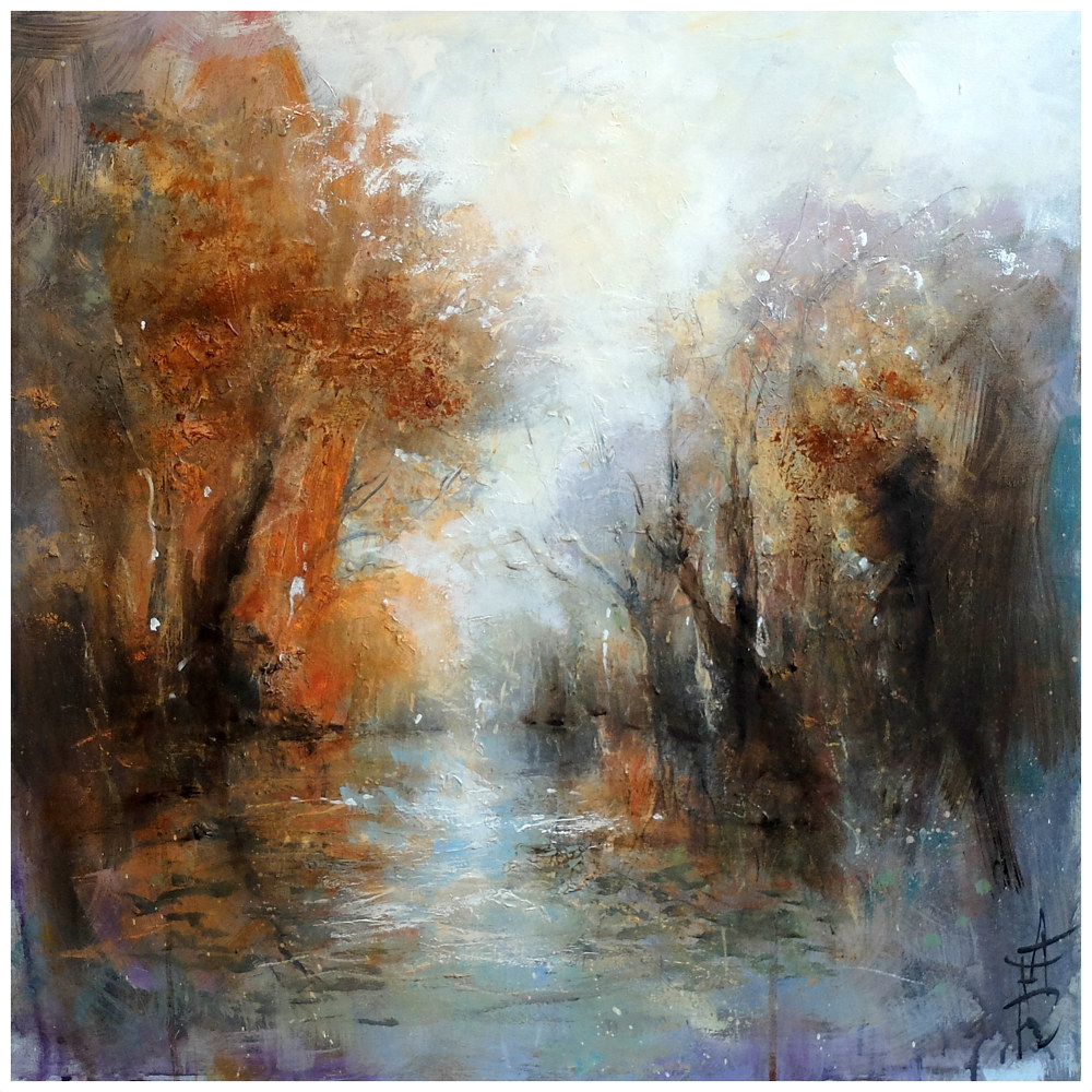 Wey Valley, oil on canvas 60x60cm, by Anne Farrall Doyle
