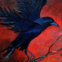 Oil painting Blue Crow by Svetlana Barker
