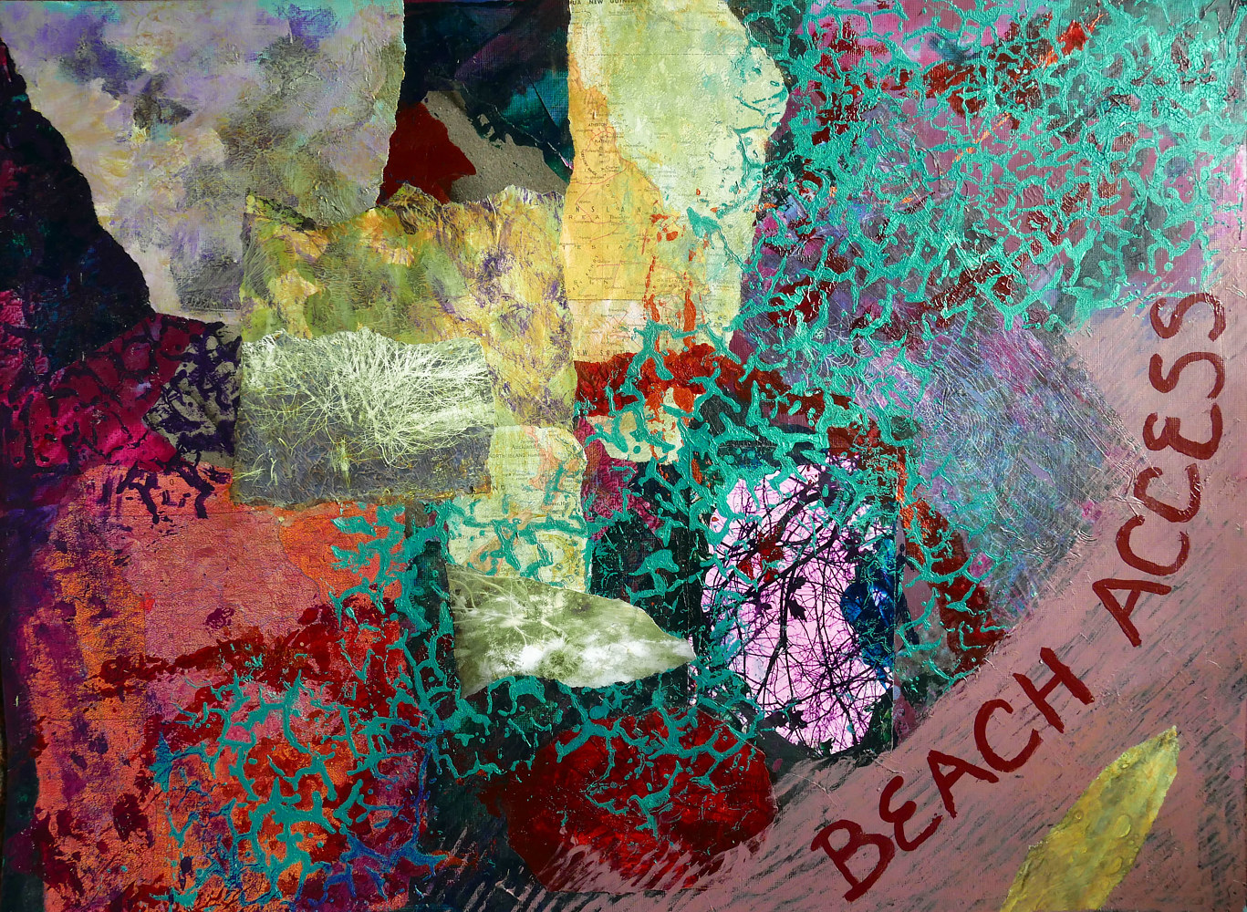 Mixed-media artwork Beach Access by Pamela Pitt