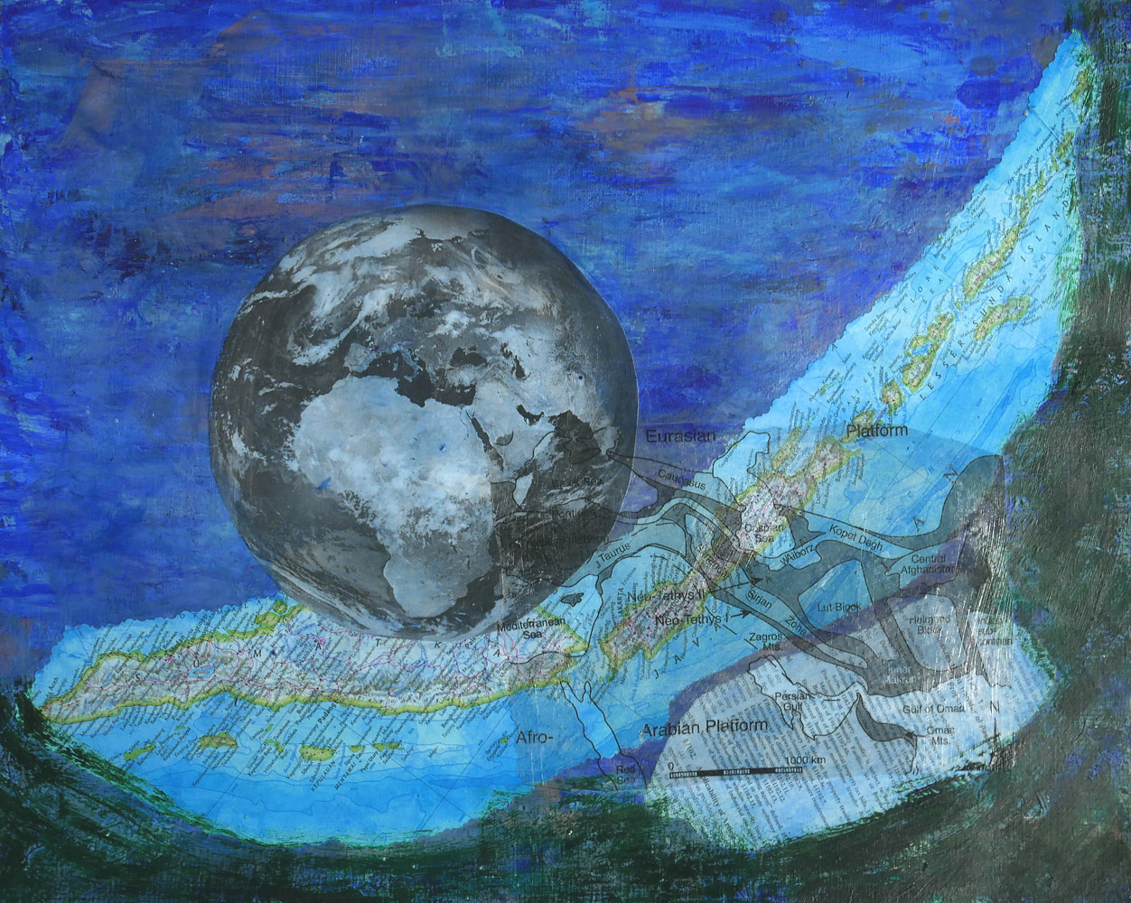 Mixed-media artwork Floating Earth  by Pamela Pitt