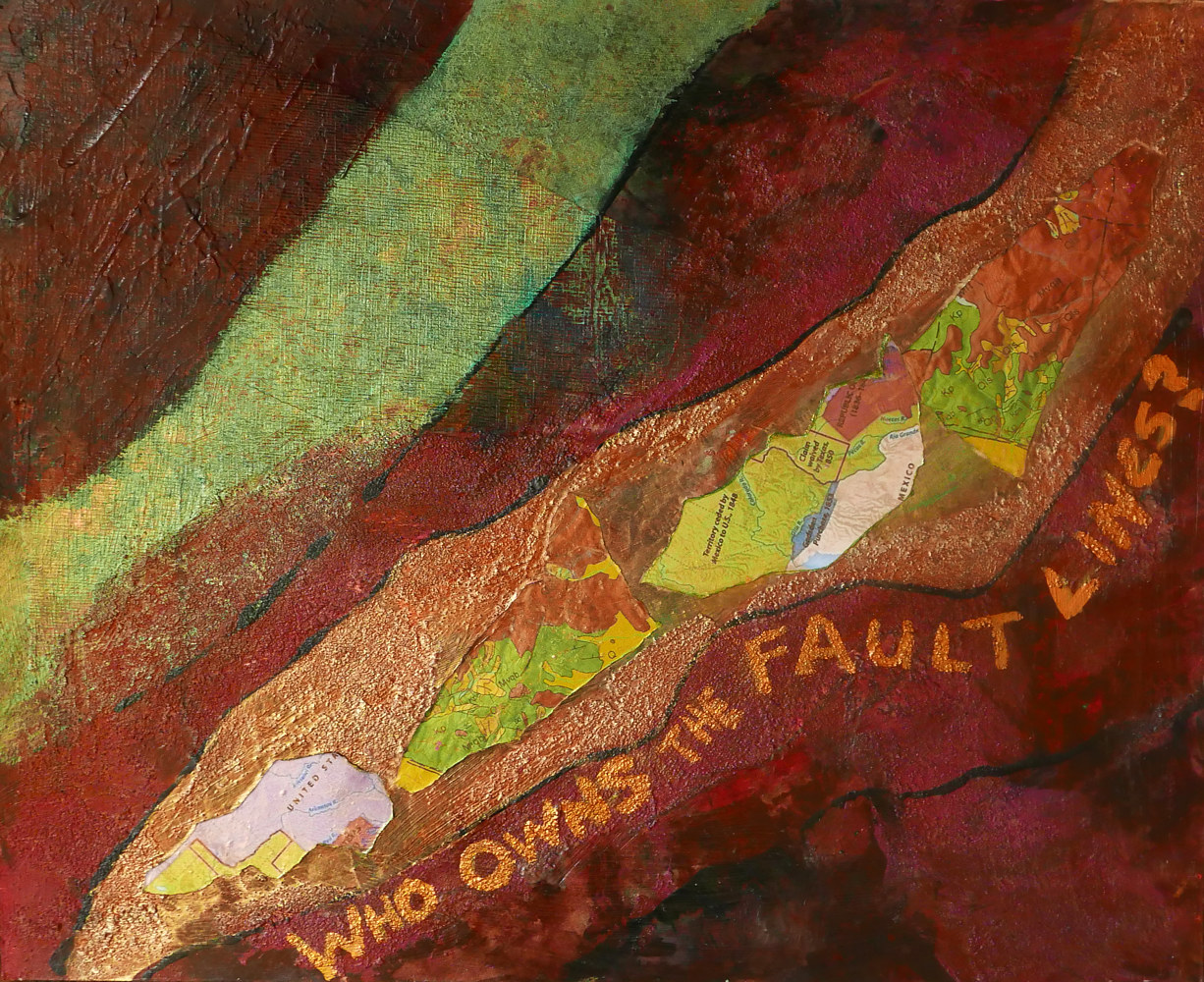Mixed-media artwork Who Owns the Fault Lines by Pamela Pitt