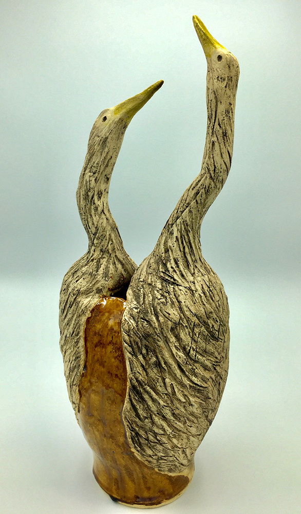 Double Bird Vase with amber glaze by Sharon V Smith