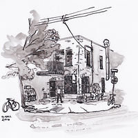 Drawing Dépanneur Le Pick-Up, corner Waverly and Alexandra by Graham Hall