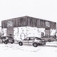 Drawing Garage Auto Scandia, corner Marconi and Beaumont by Graham Hall