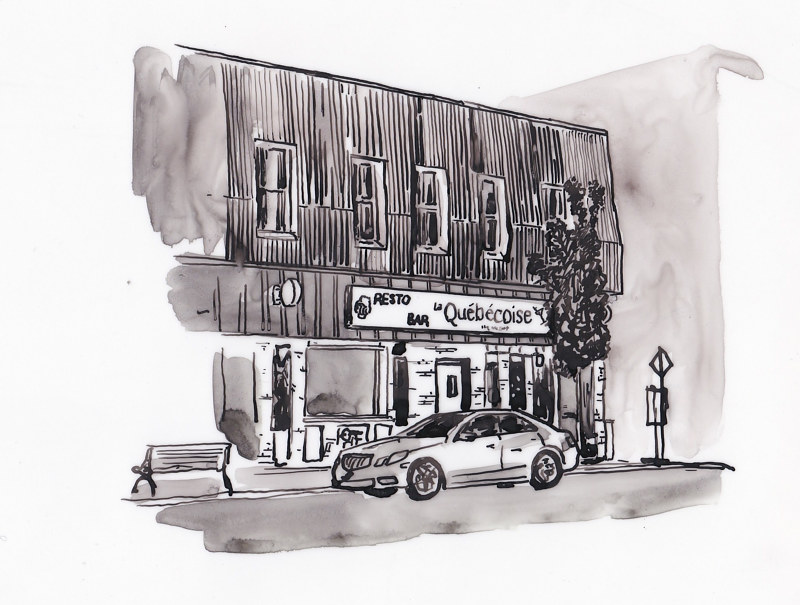 Drawing Resto Bar La Québécoise by Graham Hall