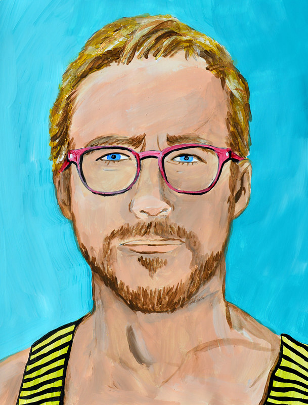 Acrylic painting Ryan Gosling by Amber N Petersen