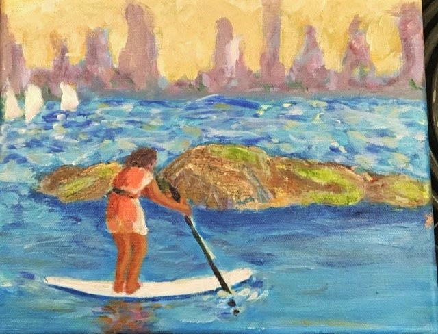 Paddler passes us by as we paint on the Beach at Bowen Island by Dianne  Cuzner