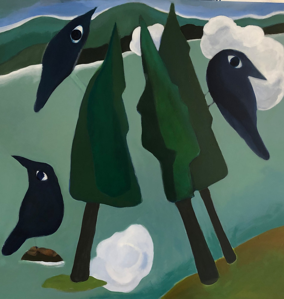 Acrylic painting Three Ravens by Penny Prior