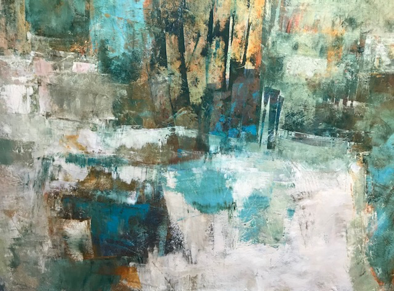Oil painting Landscape of Memory II_oil & cold wax_24x30 by Eloise Shelton-mayo