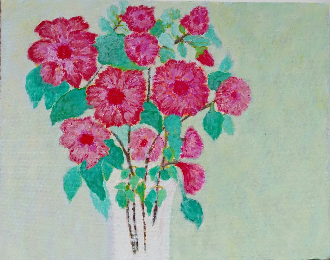 Acrylic painting Hibiscus in a Vase  by Gwenda Branjerdporn