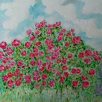 Oil painting The Rose Garden  by Gwenda Branjerdporn