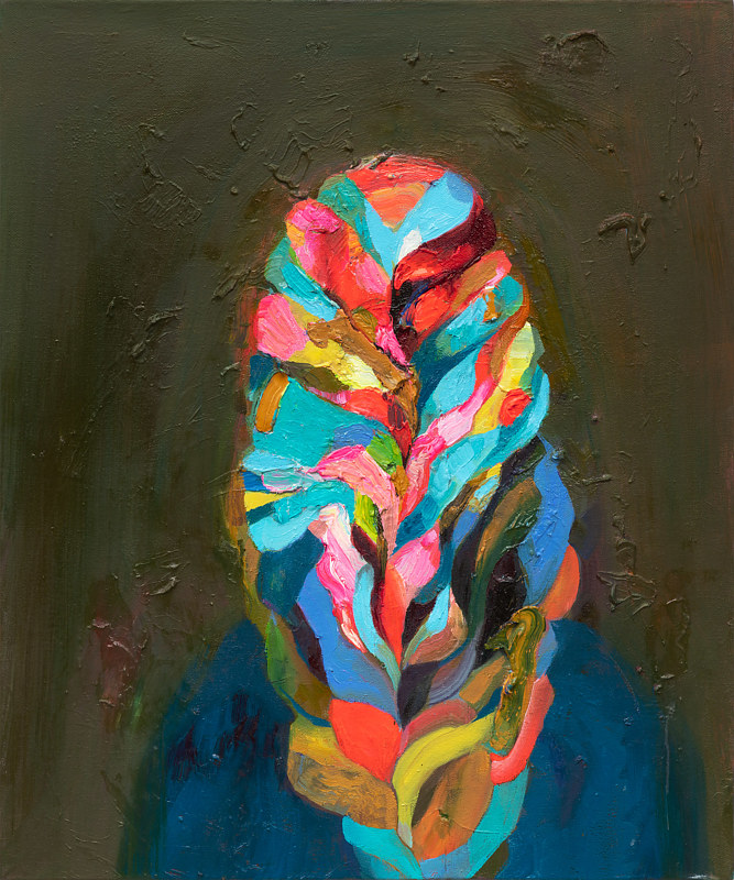 Oil painting Braided Rainbow Invisibility Cloak by Julie Gladstone