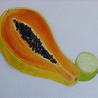 Oil painting papaya and lime Mar 28 by Michelle Marcotte