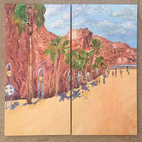 Acrylic painting Hoover Dam Streetscape by Jasmine Calix