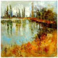 Lakeside 2. oil on canvas 60x60cm by Anne Farrall Doyle