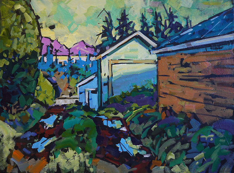 Cottage Lane Acrylic 18x24 2019 by Brian  Buckrell