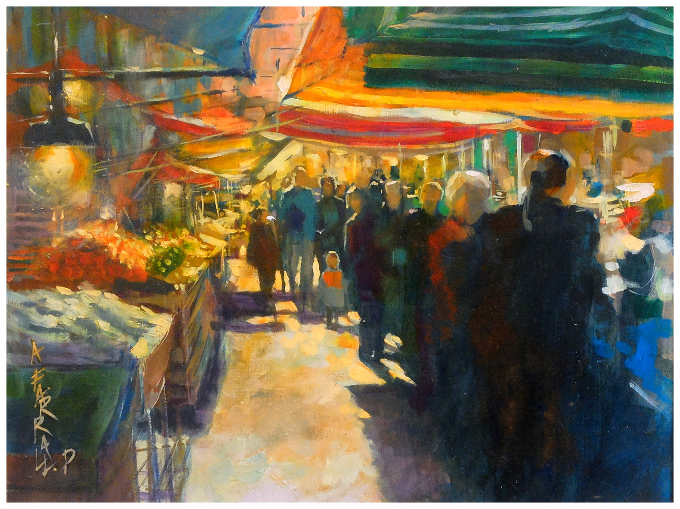 Market Day, Sicily, oil on board, 30x40cm by Anne Farrall Doyle