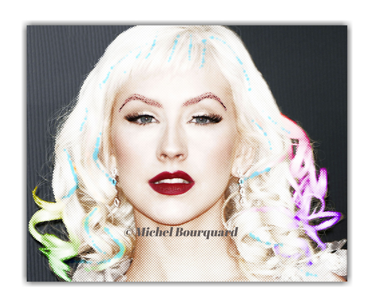 Christina Aguilera glow and colors tinted hair by Michel Bourquard