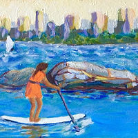 Paddler seeks refuge in the bay by Dianne  Cuzner
