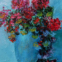 Oil painting In Blue a Vase. by Svetlana Barker