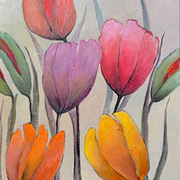 Oil painting Spring with Tulips. by Svetlana Barker