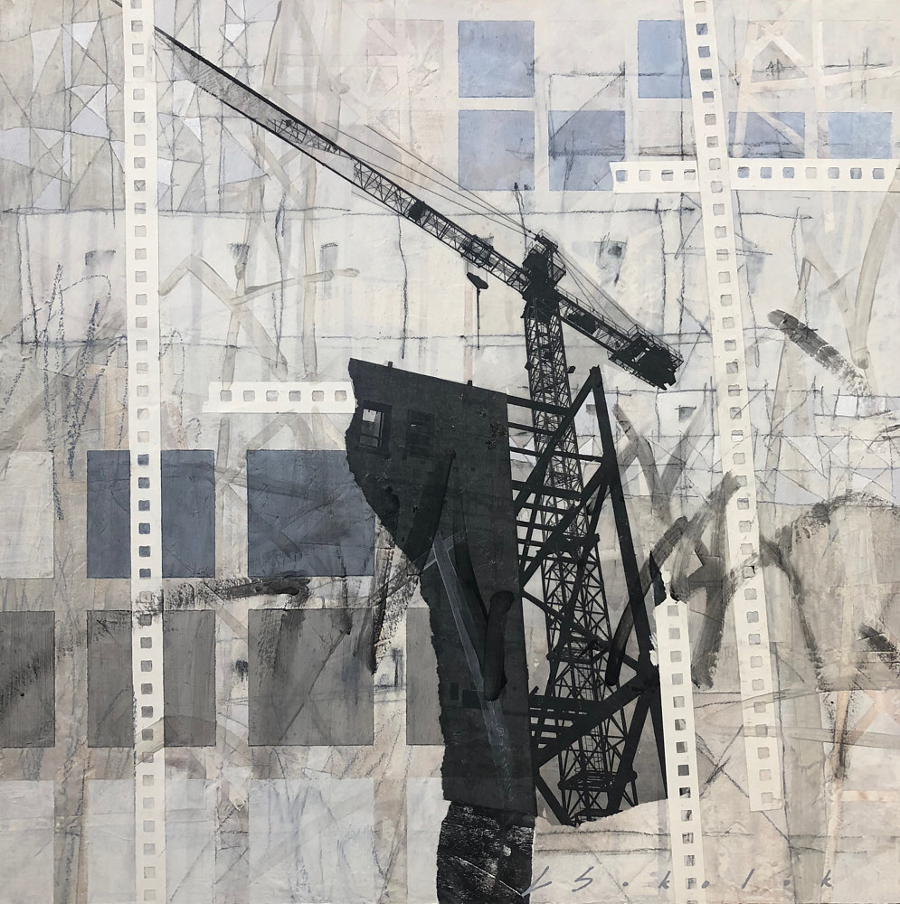 Mixed-media artwork Grid Lock by Lori Sokoluk