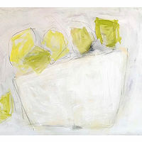 Acrylic painting Lemons on White by Sarah Trundle