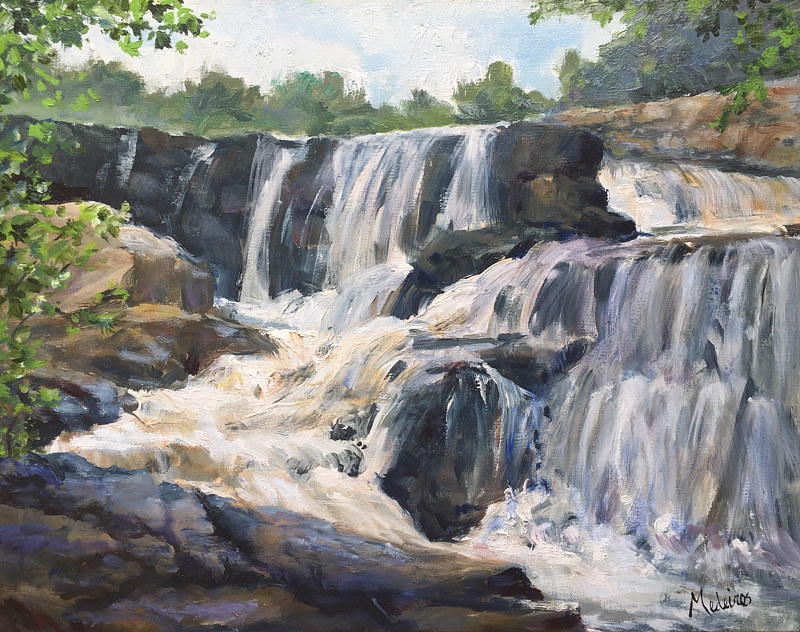 Oil painting Southford Falls in Spring by Betty Ann  Medeiros