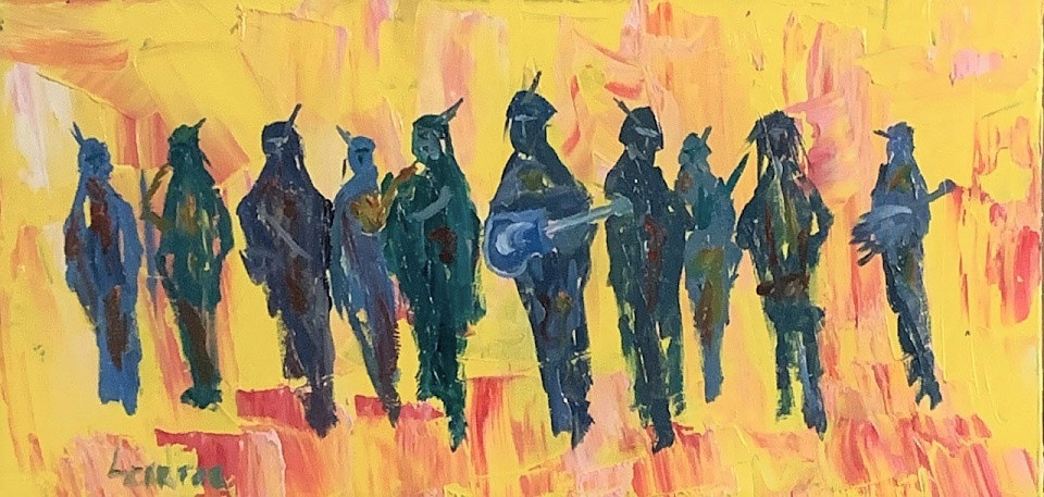 Oil painting Band of Indians by Larry Carter