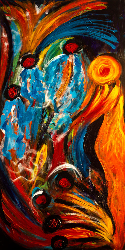 Acrylic painting Mother Fire | Mére de Feu by Nathalie Gribinski