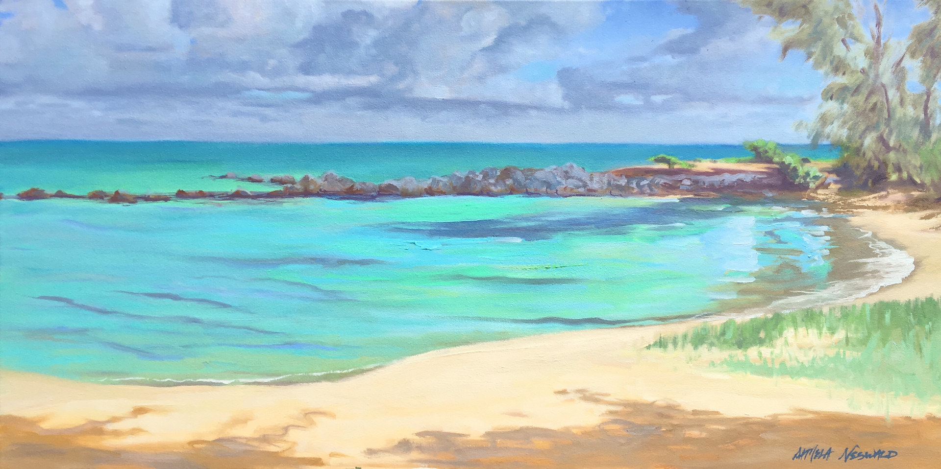Oil painting Kaʻa Point by Pamela Neswald