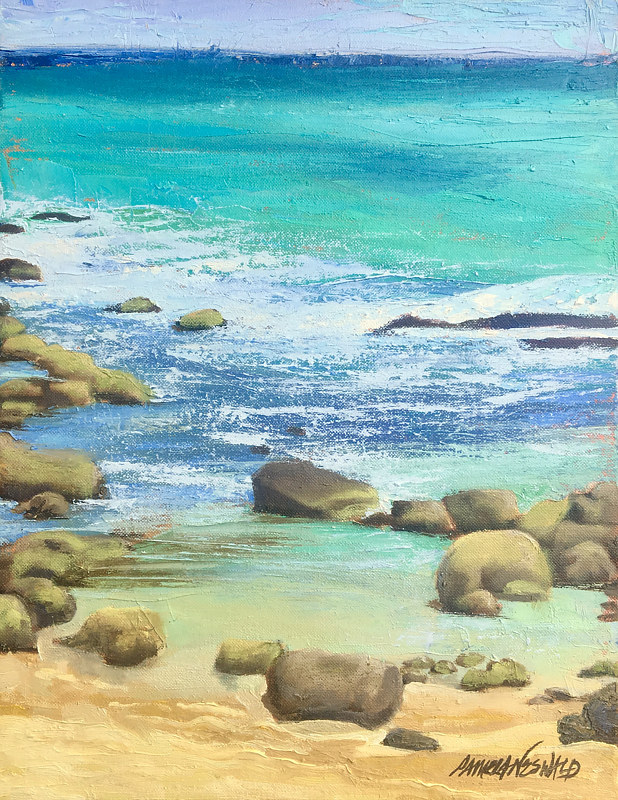 "Oil painting Pāpaʻu - ""Shallow"" location Baby Beach Sprecklesville by Pamela Neswald"