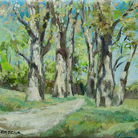 "Oil painting ""Spring Poplars"" by Kimberley Senior"