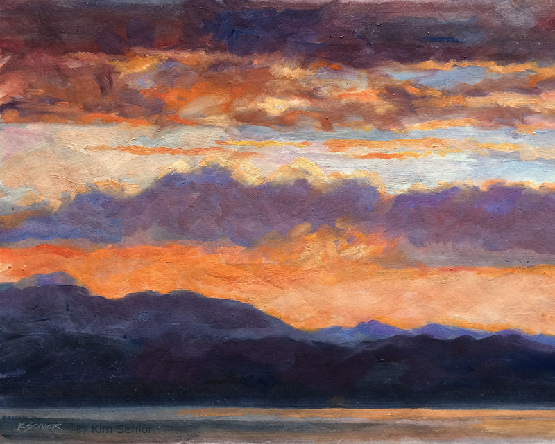 "Oil painting ""Sunset Adirondacks"" by Kimberley Senior"