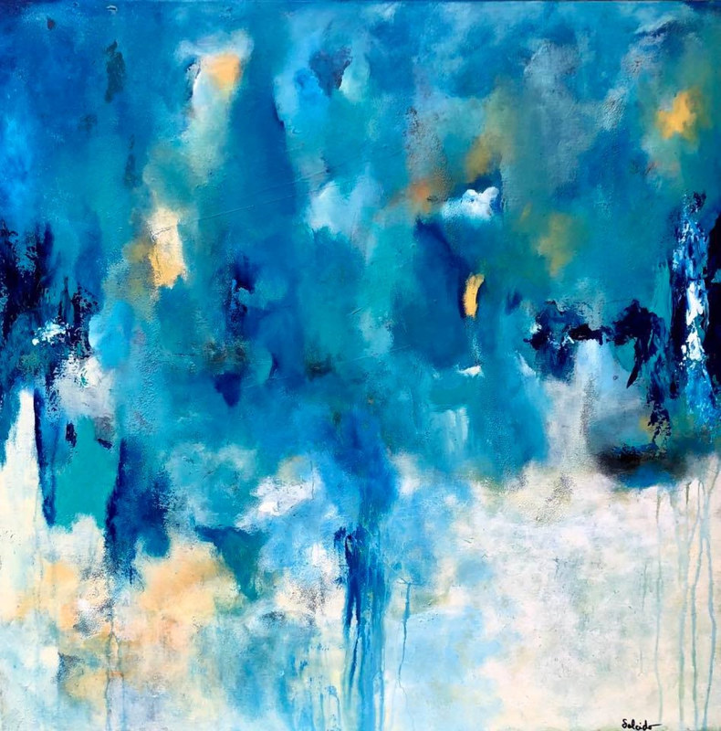 "Mixed-media artwork ""Blue Waltz"" by Mike Salcido"