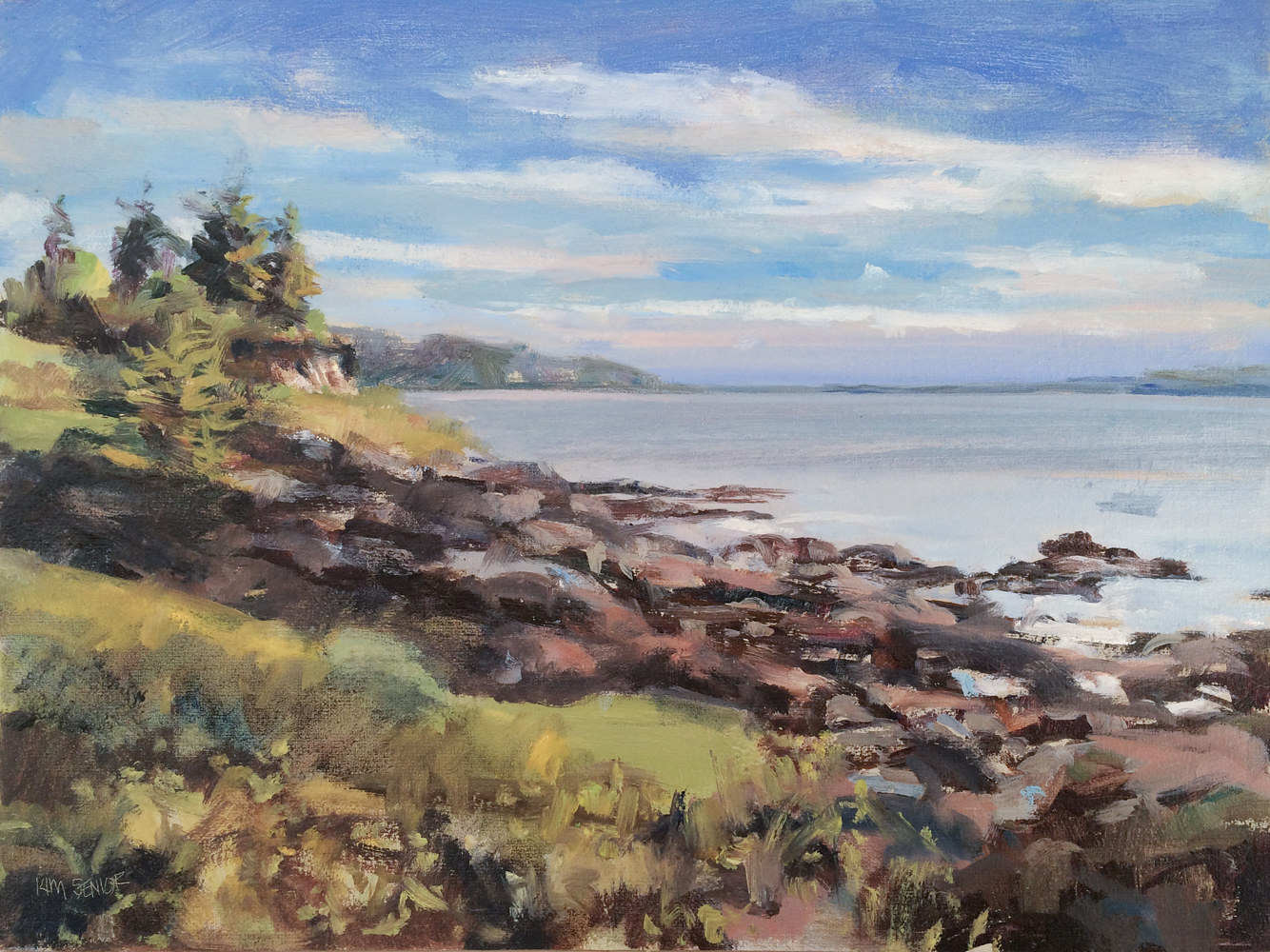 Oil painting Harrington-Cove-Morning by Kimberley Senior