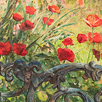 Acrylic painting Poppies-on-42nd by Kimberley Senior